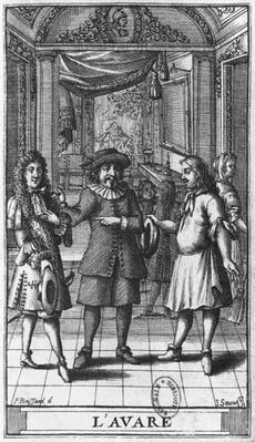 Moliere as Harpagon, frontispiece illustration from 'The Miser' by Moliere, engraved by Jean Sauve