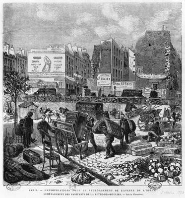 Expropriations during the extension of Avenue de l'Opera, inhabitants moving from the Butte des Moulins, October 1876