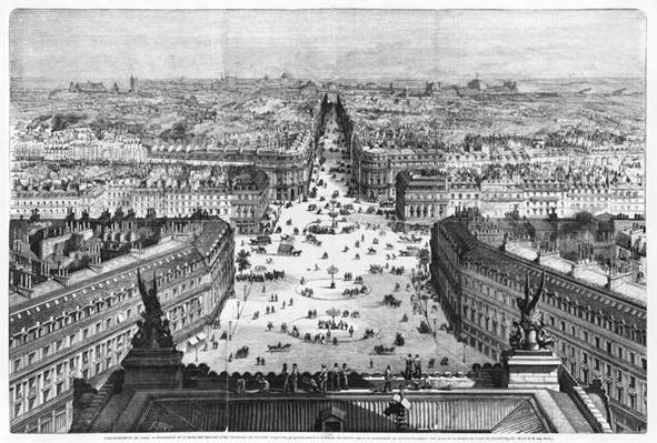 Improvements to Paris, opening of Avenue Napoleon after the building of the Butte des Moulins, 1877