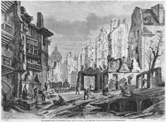 Paris, demolitions for the building of Rue des Ecoles, view taken from rue Saint-Nicolas du Chardonnet, engraved by Charles Maurand