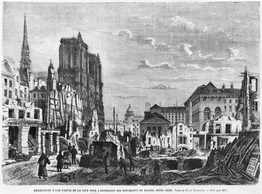 Paris, demolition of a part of the Cite to extend the buildings of the new Hotel-Dieu, engraved by Charles Barbant