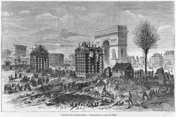 Demolition of the Paris barriers, Arc de Triomphe and Place de l'Etoile, engraved by Henry Duff Linton