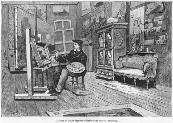 'The studio of our lamented contributor Charles Daubigny', illustration from 'Le Monde Illustre', no 1092, 3rd March 1878