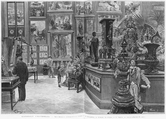 The foreign retrospective galleries of the Trocadero, India, China, Japan, at the Universal Exhibition of 1878, Paris, from 'Le Monde Illustre', no 1129, 16th November 1878