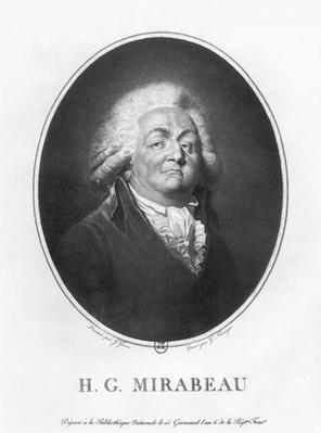Honore Gabriel Riqueti, Comte de Mirabeau, engraved by Frantz Gabriel Fiesinger