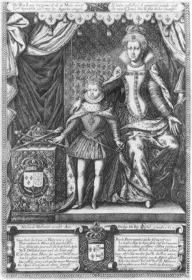Queen Marie de Medicis and Louis XIII as a child, engraved by Nicolas de Mathoniere
