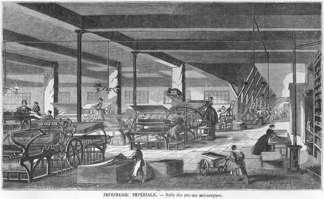The printing presses room of the Imperial Printing Works, illustration from 'Les Grandes Usines' by Julien Turgan, engraved by Henry Duff Linton