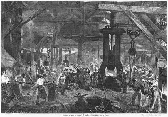 Forge of the Derosne and Cail Company, Grenelle, illustration from 'Les Grandes Usines' by Julien Turgan, engraved by Henry Duff Linton