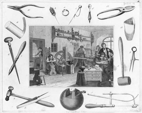 Workshop and main tools of jewellery, 1810
