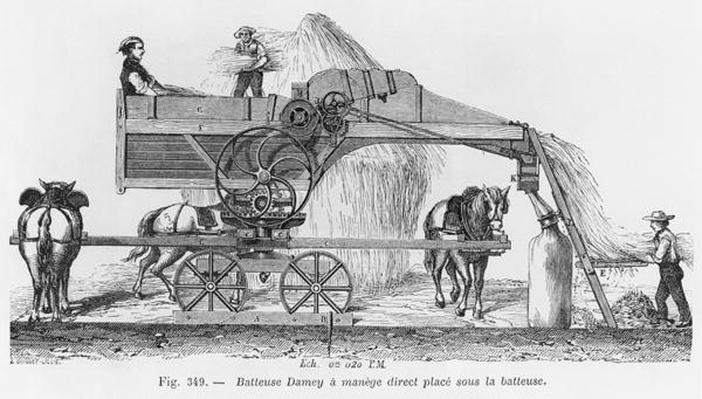 Damey threshing machine with a rotary system, illustration from 'Dictionnaire de l'Industrie' by E.O. Lami, c.1850