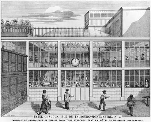 Factory for shotgun cartridges, Usine Chaudun, rue du Faubourg Montmartre 7, Paris, engraved by Luc