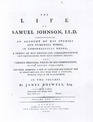 Title page, from 'The Life of Samuel Johnson' by James Boswell