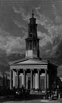 St. Pancrass Church, West Front, engraved by James Tingle 1827