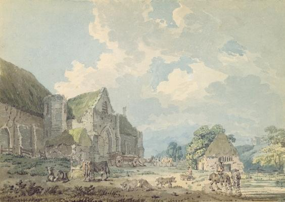 The Tithe Barn at Abbotsbury with the Abbey on the hill..., c.1795