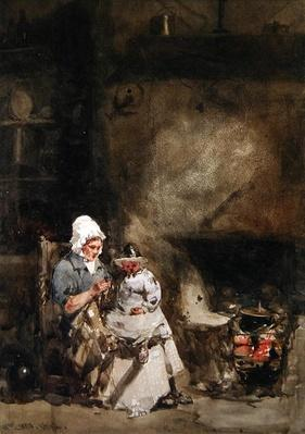 A Woman and Child by a Hearth, 1842