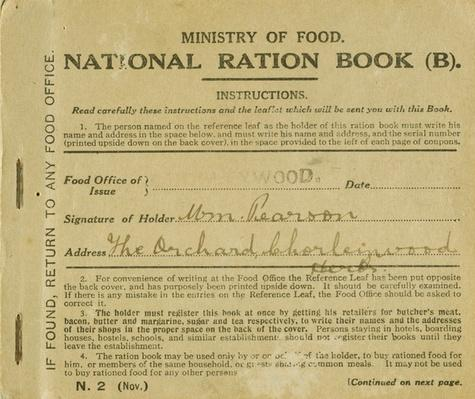 Ration Book for William Pearson, Chorleywood, Hertfordshire, 1919