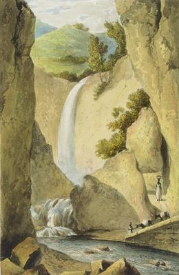 Waterfall on the Windward Road near Kingston, from 'A Picturesque Tour of the Island of Jamaica', engraved by Thomas Sutherland, 1824