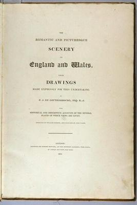 Title Page of 'Romantic and Picturesque Scenery of England and Wales', 1805