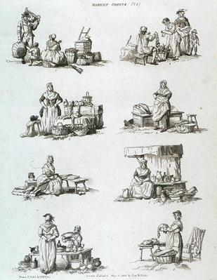 Market Groups, from 'Microcosm, Vol.II', engraved by J. Hill, c.1806