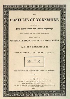 Front Cover of 'The Costume of Yorkshire, Part IV' by George Walker, 1813