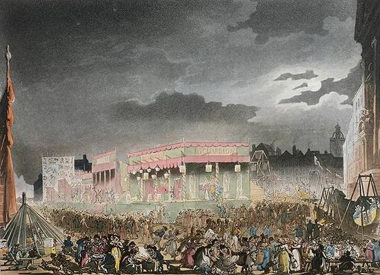 Bartholomew Fair, from the 'Microcosm of London, or London in Miniature, Vol. I,' by Rudolph Ackerman, engraved by J. Bluch
