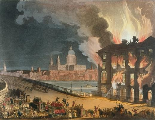 Fire in London, from the 'Microcosm of London, or London in Miniature, Vol. II, by Rudolph Ackerman, engraved by J. Bluch