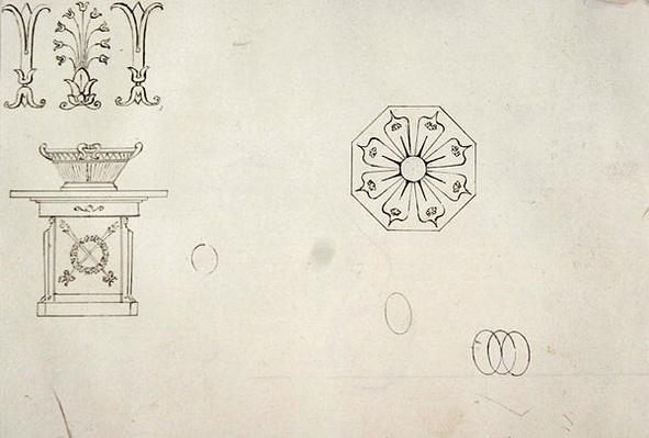 Design for moulded work decoration, from 'Twenty-one pen drawings of Decorative Details in Antique Style'