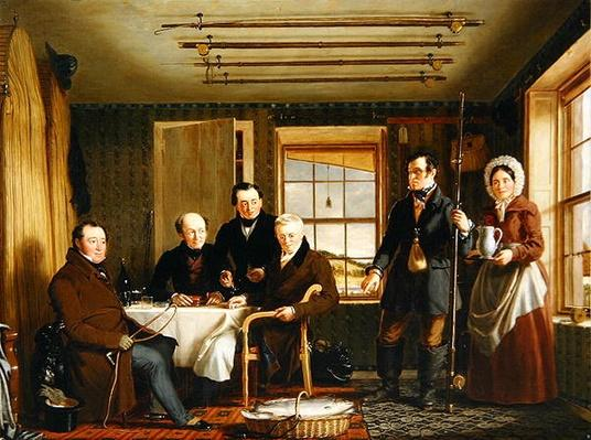Discussing a Catch of Salmon in a Scottish Fishing-Lodge, c.1840