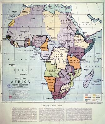 Map of Africa showing Treaty Boundaries, 1891