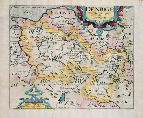 Map of Denbigh and Flint, from 'Britannia' by William Camden, 1637