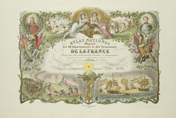Frontispiece of 'Atlas Nacional Illustre des 86 Departments et des Possessions de la France', by Victor Levasseur 1856