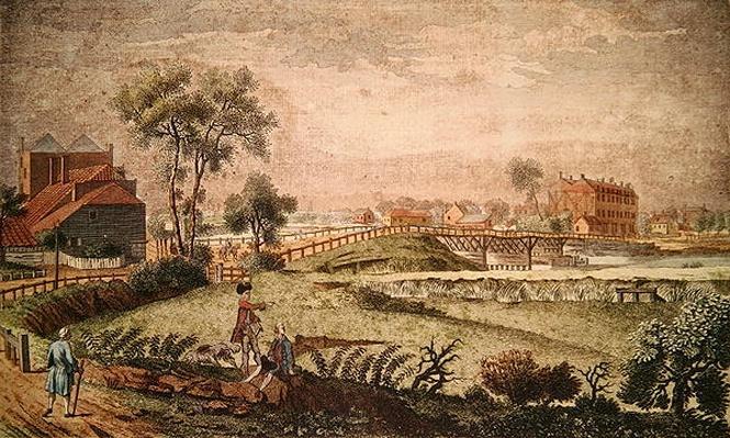 A West view of Chelsea Bridge, 1761