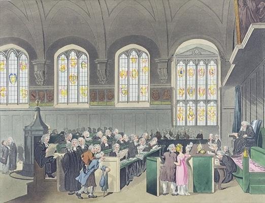 Court of Chancery, Lincoln's Inn Hall, engraved by Constantine Stadler