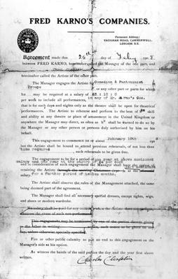 Agreement made between Fred Karno's Companies and Charles Chaplin, 25th July 1908