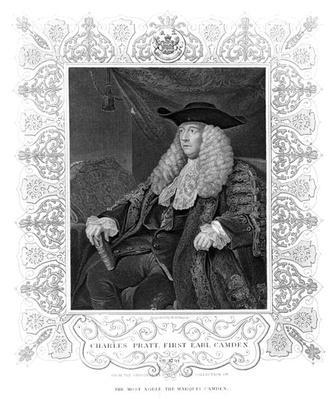 Portrait of Charles Pratt, 1st Earl Camden, engraved by H. Robinson