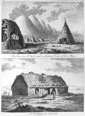 Sheelins in Jura and a distant view of the Paps and A Cottage of Islay, from 'A Tour in Scotland, and voyage to the Hebrides' 1772