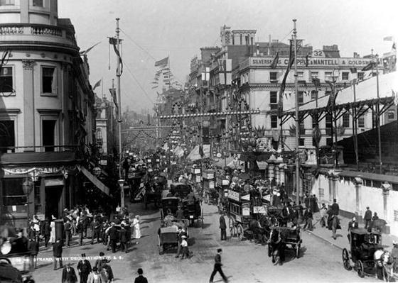 The Strand, London with Jubilee Decorations, 1897