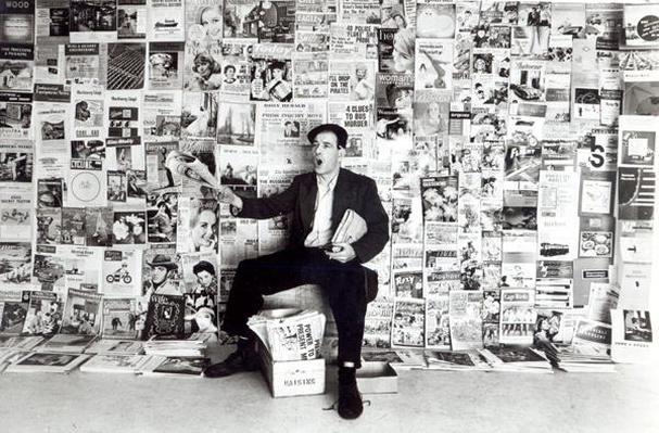 Newspaper salesman, c.1960