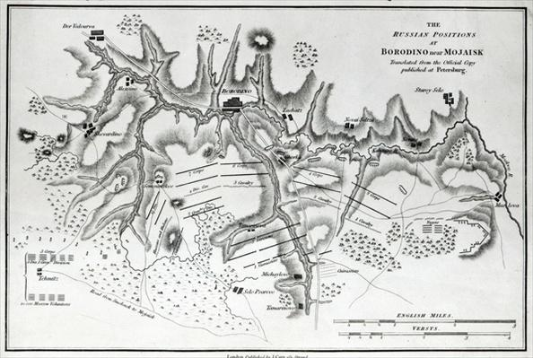 Map showing the Russian positions at the Battle of Borodino, c.1812