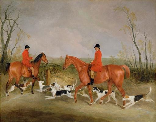 George Mountford, Huntsman to the Quorn, and W. Derry, Whipper-In, at John O'Gaunt's Gorse, nr Melton Mowbray, 1836