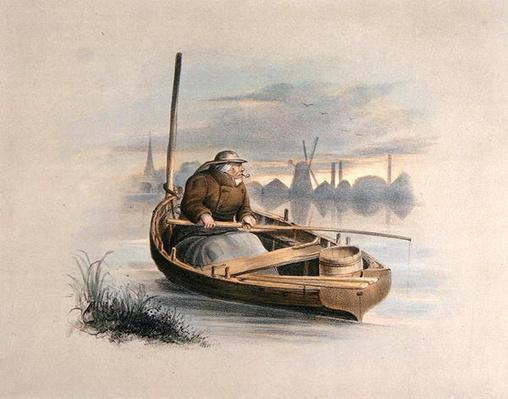 Eel bobing, Battersea, from a set of six images of 'Angling'