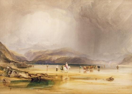 View from Snowdon from Sands of Traeth Mawe, taken at the Ford between Pont Aberglaslyn and Tremadoc, 1834