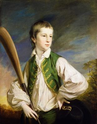 Charles Collyer as a boy, with a cricket bat, 1766