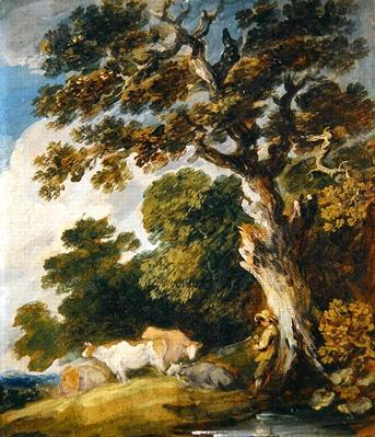 A wooded landscape with cattle and herdsmen