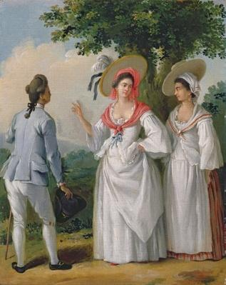 Free West Indian Creoles in elegant dress, c.1780