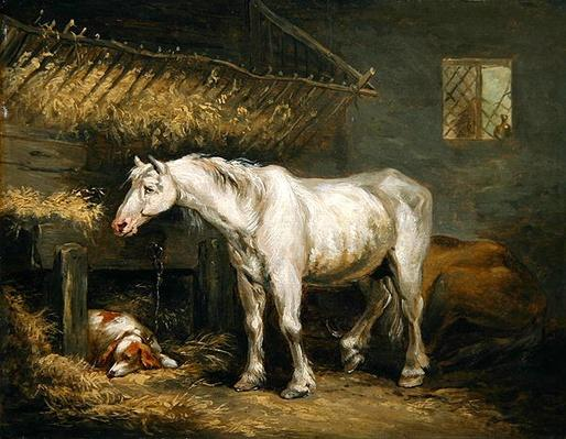 Old horses with a dog in a stable, c.1791