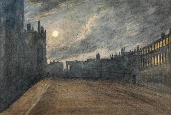 Broad Street, Oxford, full moon, 1790