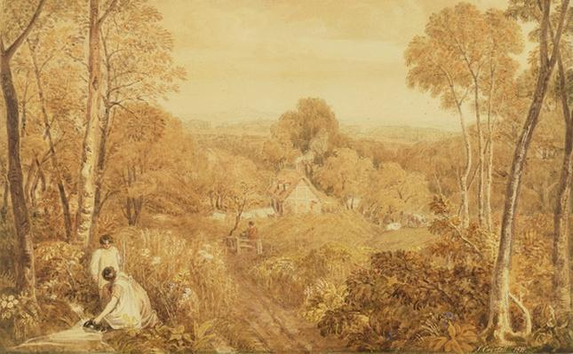 Wooded landscape with cottages and countrywomen, Hurley, Berks, 1818