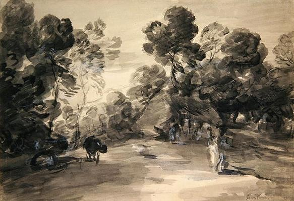 Wooded landscape with figures, cottage and cow, c.1785