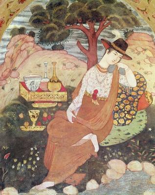 Princess sitting in a garden, Safavid Dynasty